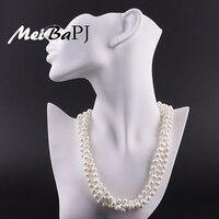 Meibapj Настоящее пресноводной жемчужиной ожерелье для женщины 47 см Мода Многоэтажный ожерелье AAA с картофеля формы жемчуг xl079