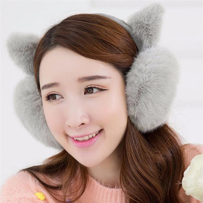 Cute Cat Ears Folding Ear Muffs Women Girl Headband Earmuffs Fur Winter Ear Warmer Earmuffs Muffs Earlap Ear Warmer OorwarmersR2