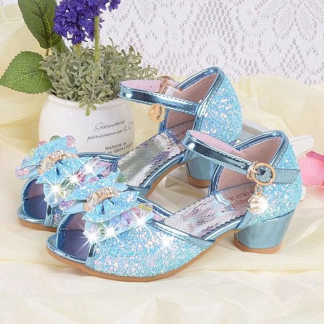 qloblo 2018 Summer Bowtie Kids Wedding Shoes Girls Mules Clogs Sandals  Rhinestone Children Dress Shoes Party Shoe a628605cde74