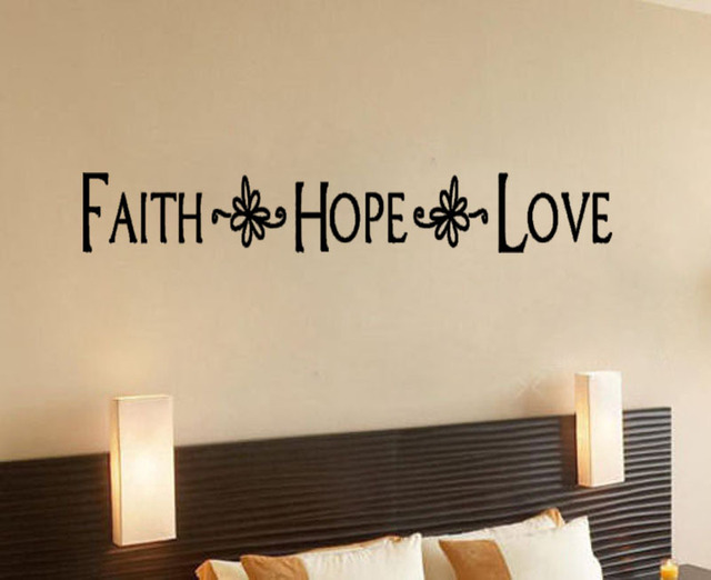 Faith Hope Love With Flowers Wall Sticker Decal Decor Quote Lettering Art Home