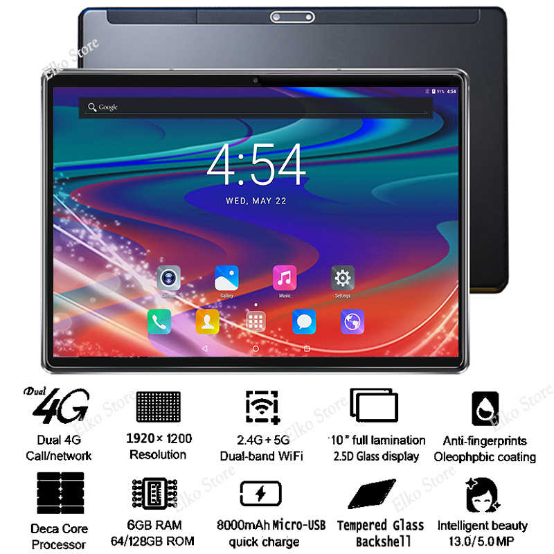 Nowy Google DHL bezpłatny 10-calowy szklany Tablet 2.5D Android 8.1 Deca Core 4G LTE 6GB RAM 128GB ROM IPS 13MP Wifi A-GPS Tablet 10 10.1
