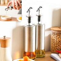 1pc 350ML Kitchen Glass Oil Bottle Stainless Steel Leak Proof Soy Sauce Vinegar Cruet Storage Dispenser