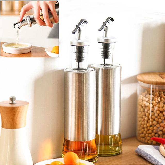 350ML Kitchen Oil Bottle Stainless Steel Leak Proof Soy Sauce Vinegar Cruet  Storage Dispenser