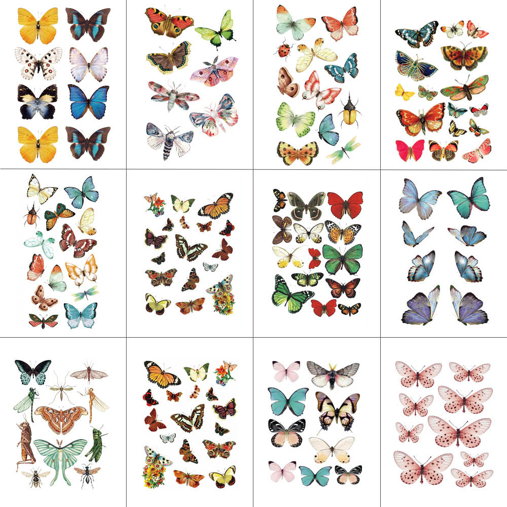 HXMAN 12 PCS Butterfly Temporary Tattoo Sticker for Women Men Body Art Adults Waterproof Hand Fake Tatoo 9.8X6cm W12-38