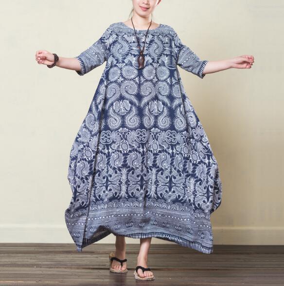 Style Longues Robes Coton Vintage Lin Bleu Grande Robe cou V De Femmes Taille Ethnique O7xZqX6Xfw