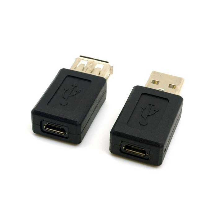 USB 2.0 A Type Male to Micro USB 5pin Female Connectors & USB Female to Micro USB 5pin Female Extension Adapter Black