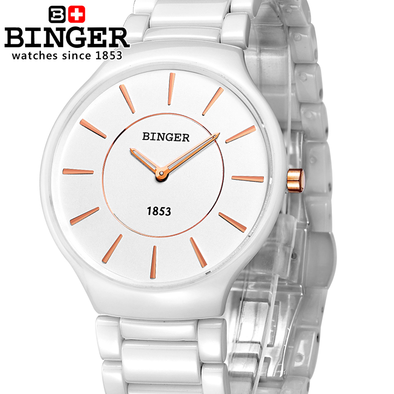 Switzerland luxury brand Wristwatches Binger ceramic quartz watches men lovers style Water Resistant B8006B-5 все цены