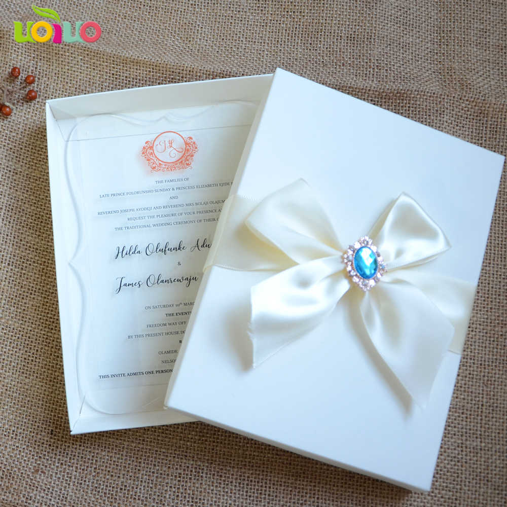 10pcs hot sale Wedding Invitations box with stain ribbon rhinstone for acrylic card