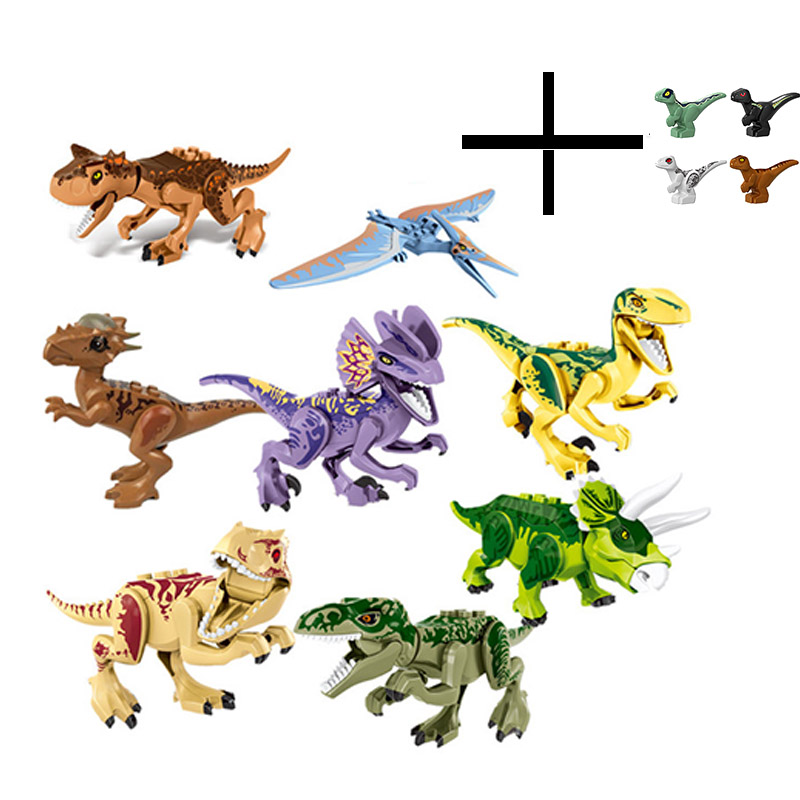 12Pcs/Sets Jurassic Dinosaur world 2 Figures Tyrannosaurs Rex Building Blocks Toys