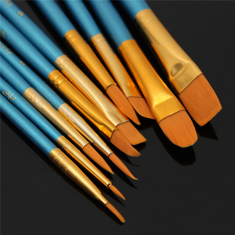 10pcs New Nylon Wooden Handle Paint Brush Set For Kids Watercolor Gouache Drawing Painting Art Supplies  TN88