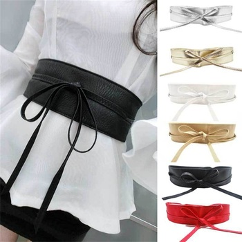 1PC Spring Elegant Women Fashion Metallic Color Soft Faux Leather Wide Belt Self Tie Wrap Around Waist Band Sequins Dress Belt