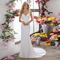 Lace Apliques V Neck Sexy Costas Abertas Sereia Novo 2017 Casamento Formal Vestido de Noiva vestido de novia Cetim CGT144