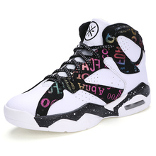 Фотография 2017new men women Basketball shoes lover Printed Breathable air High Top Athletic Sport Sneakers Culture  Plus Size 9 10 11