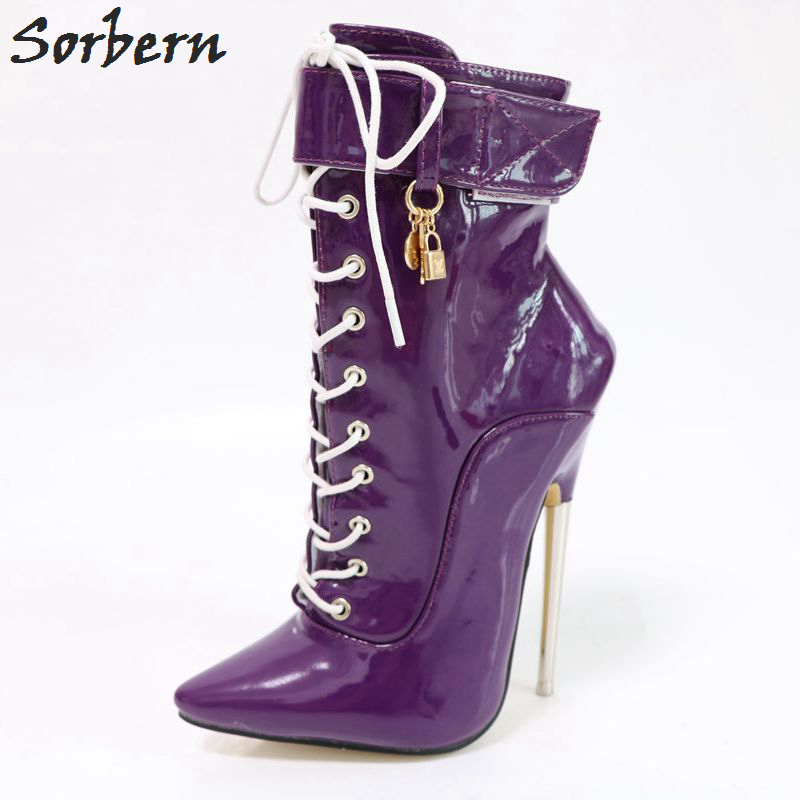 Sorbern Ankle Boots For Women Plus Size Metal Heels New Arrive Ladies Party Boots Lace Up Pointed Toe Unisex Ladies Party Boots sorbern fetish ballet heels ankle boots for women lace up 2018 plus size unisex party boots plus size custom color