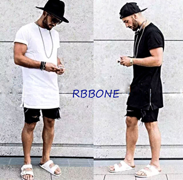 2016 New Summer style Men silver side zipper T-shirt streetwear Style Hip Hop T shirts Fashion Clothes designer swag T shirt