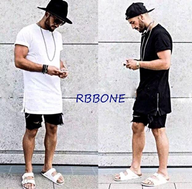 2016 nuevo verano hombres silver side zipper la camiseta streetwear estilo Hip Hop camisetas moda ropa de diseñador botín