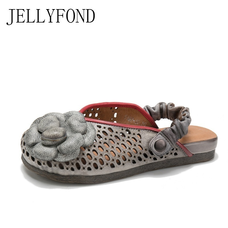 JELLYFOND 2018 Summer Shoes Woman Flat Platform Slipper Genuine Leather Cut Outs Handmade Flower Cover Toes Women Slides