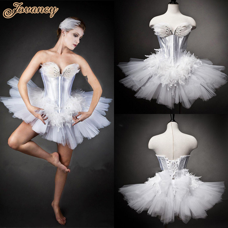 Modern Unique Short Mini White Feathers Ballet Sweetheart Lace Up ...