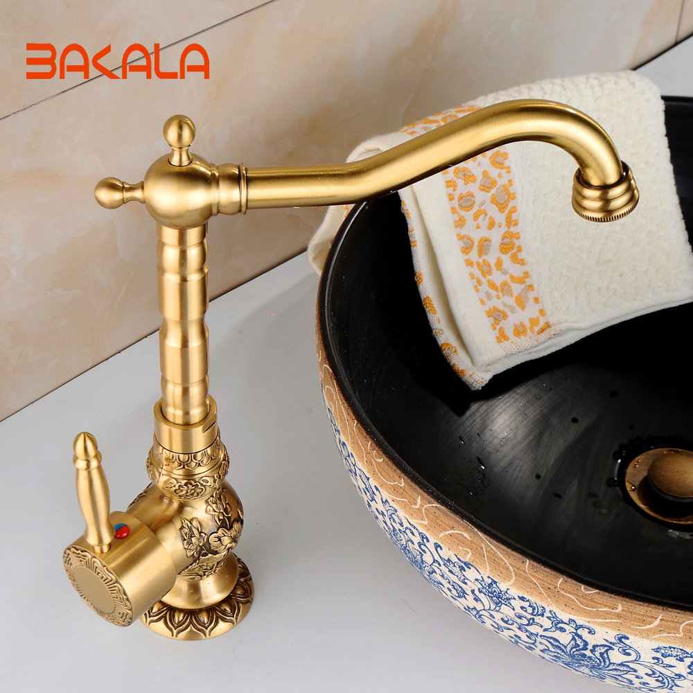 2017 New Arrival Single Handle Bathroom Faucet Basin crane tap Antique Brass Hot and Cold Water tap 360 degree rotating CA9005 orb black brass bathroom faucet basin tap 360 degree rotating single handle hot and cold water mixer taps crane antique jp115
