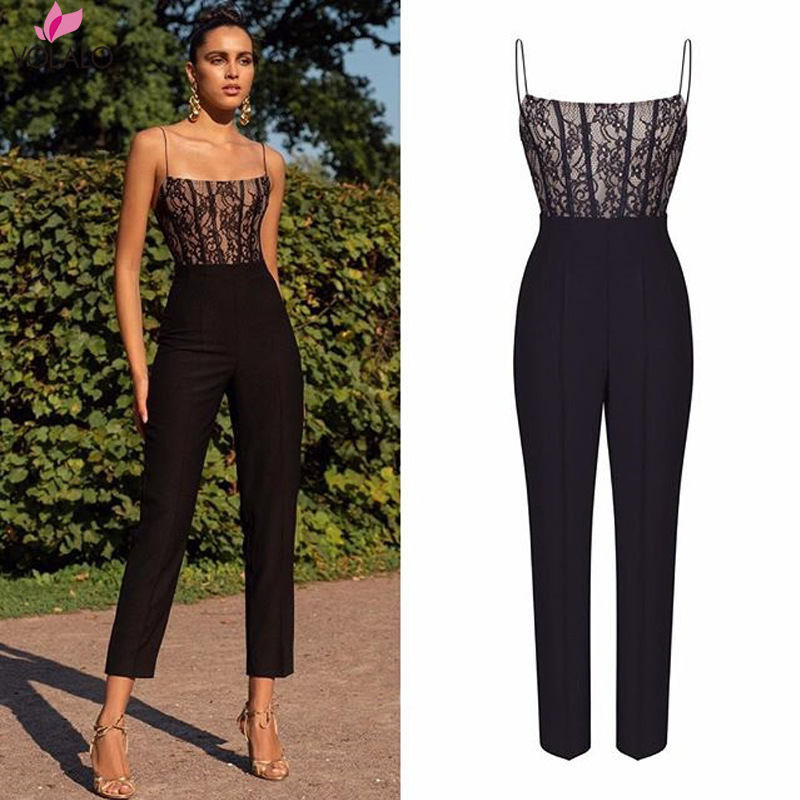 Elegant Formal Sheer Black Lace Jumpsuit Womens Overalls Sexy Mesh Patchwork Romper Loose Long Trousers Female Wide Leg Jumpsuit