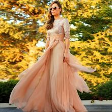 Long sleeve champagne evening gowns Arabic Style Muslim O-neck sequined lace hijab chiffon evening Dress
