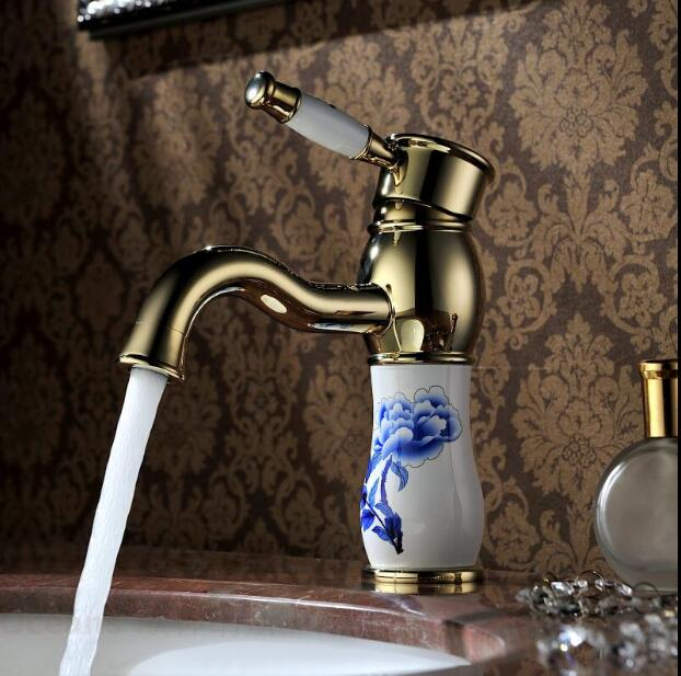 Free Shipping Water Faucet Gold Brass & Jade Basin Faucet Hot And Cold Basin Mixer Luxury Bathroom Sink Faucet Mixer Tap