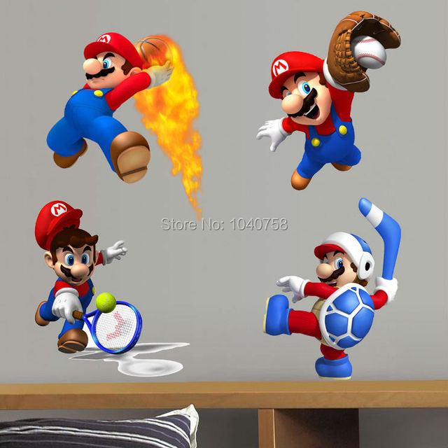 Super Mario Wall Stickers for Kids Baby Rooms Home Decoration Sports Mix Bros Game Wall Decals Art Poster Cartoon Wallpaper Kids