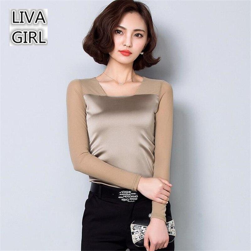 Plus Size M-XXXL 2017 Autumn Blending Silk Made Women T-shirt Top Tees Casual Women T shirt Summer Tshirt Tops For Women