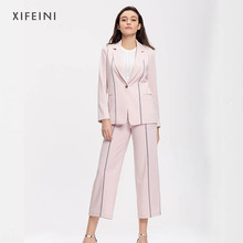 XIFEINI 2018 Fashion Formal Two Piece Set For Women Elegant High Waist Pants+Tops Women's Suits Pink Simple Office Business Sets