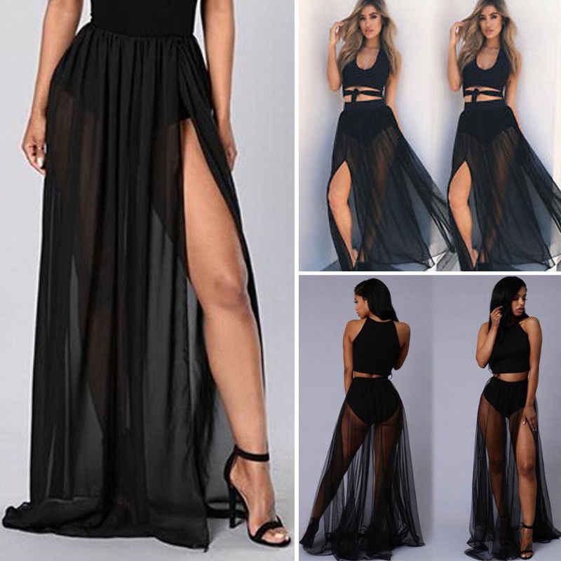 2019 חדש הגעה נשים טרנדי הגעה מצויד סקסי Sheer Mesh לראות דרך ארוך מקסי חצאית אופנתי נשי רשת שיפון חצאיות
