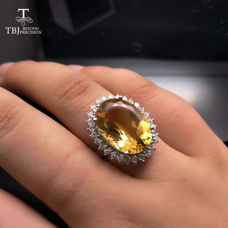 TBJ Natural Big Citrine oval13 18mm diana Gemstone Ring in silver for wedding engagement anniversary party
