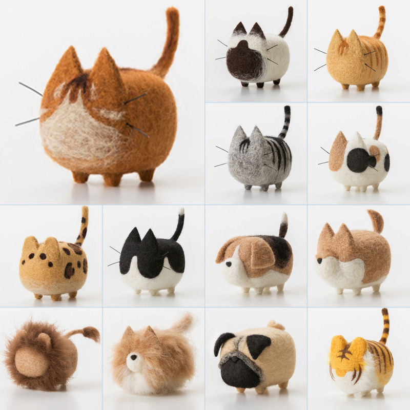 2 Pcs Non-finished Accessories Felt Poke DIY No Faceless Dogs Tiger Cat Material Package Wool Felt Poked Doll Felt Needles