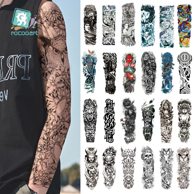 Rocooart Black Temporary Tattoo Stickers For Men Full Body Art Arm Sleeve Tatoo 6x48CM Skull Design Large Waterproof Taty image