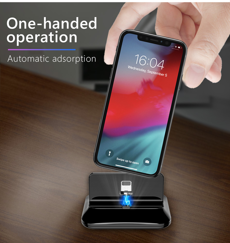 !ACCEZZ 2 in 1 Phone Stand Holder Magnetic Charger For iphone 8 X Plus Universal Type-C Micro USB 8 Pin Desktop Charge For Xiaomi (9)