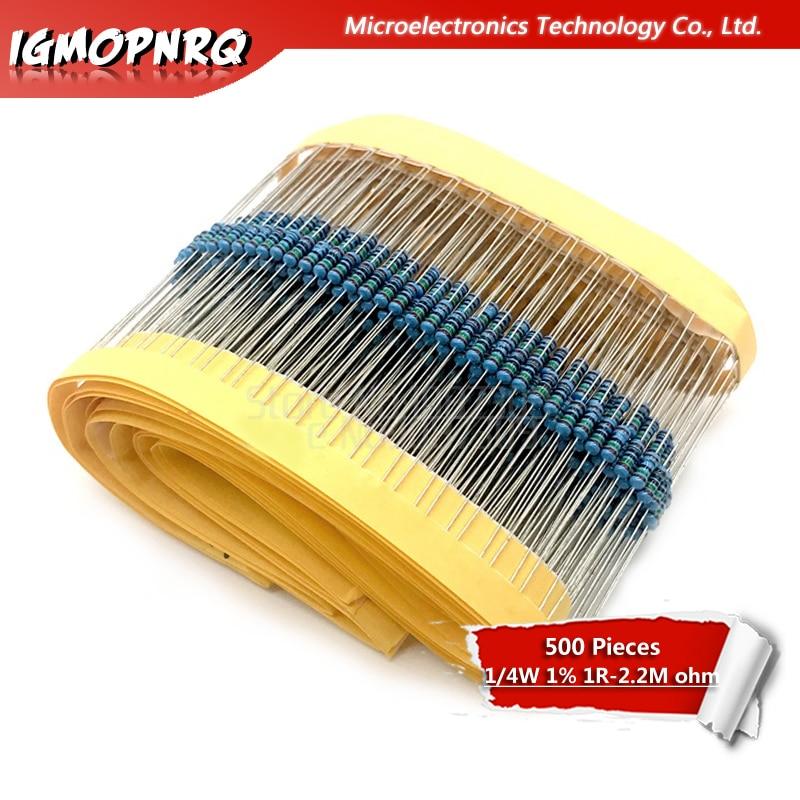 500pcs 1R~2.2M 1% Metal Film Resistor 1/4W Series 10K 22K 47K 100K 100 220 1K5 2K2 100R 220R 1K 1.5K 2.2K  4.7K 4K7 Ohm