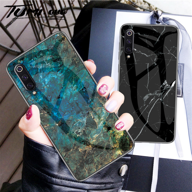 Marble Tempered Glass Edge Soft Silicone Case For <font><b>Xiaomi</b></font> <font><b>Mi</b></font> 5X 6X A1 A2 9 SE 8 Lite <font><b>Mix</b></font> 3 2 Max A2 Lite Pocophone f1 Redmi Caes image