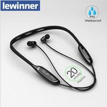 Lewinner W1 boyun bandı Bluetooth kulaklık Mic ile IPX5 su geçirmez spor kablosuz kulaklık Bluetooth için telefon iPhone xiaomi