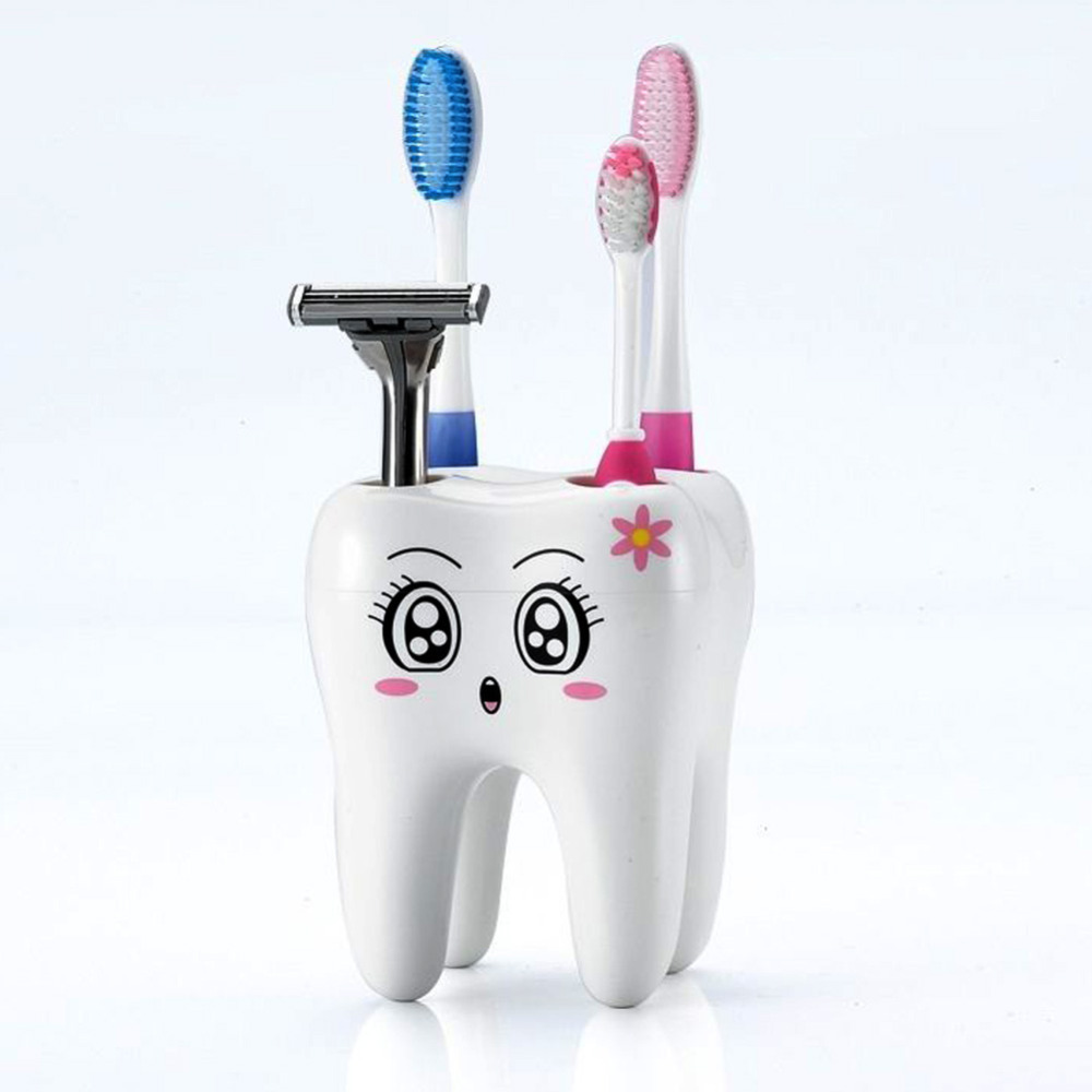 Bathroom:  Cartoon Toothbrush Holder 4 Hole Style Stand Tray Brush Container Bathroom Product - Martin's & Co