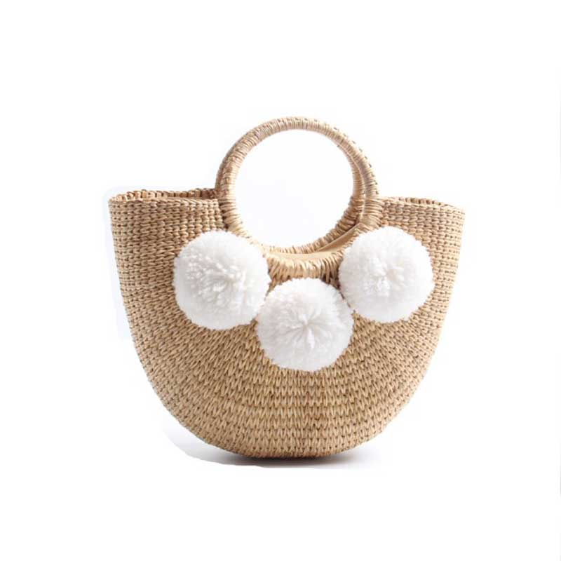 Sac de plage fait à la main pour les femmes sac de paille d'été gland sac de paille en rotin plage bohème sacs à main Totes à tricoter sacs à main en paille