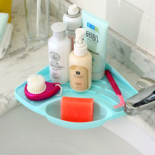Kitchen Sink Angle Sponge Frame Soap Dish Triangular Drain Storage Rack Plastic Box Bathroom Accessories