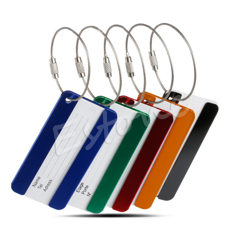 THINKTHENDO Aluminium Travel Luggage Baggage Tag Suitcase Identity Address Name Tel Labels