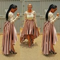 Африканский Мода Юбка Высокий Низкий Асимметричный Складки Длина Пола Складки Нигерии Стиль Юбка