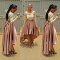 African Fashion Skirt High Low Asymmetrical Pleats Floor Length Pleats Nigeria Style Skirt