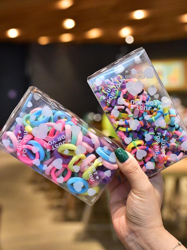 100pcs/box Small Towel Hair Ties For Baby Girls Elastic Hair Bands Toddlers Mini Hair Rope Ring Scrunchies Kid Hair Accessories