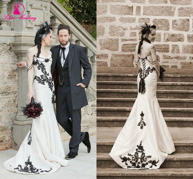 Enchanting Black Und Weiß Mermaid Brautkleider Liebsten Low Back ...