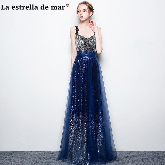 521ae02064c26 vesto de festa longo para casamento2018 New lace sequined V-neck straps  ALine gradient Royal blue bridesmaid dresses plus size