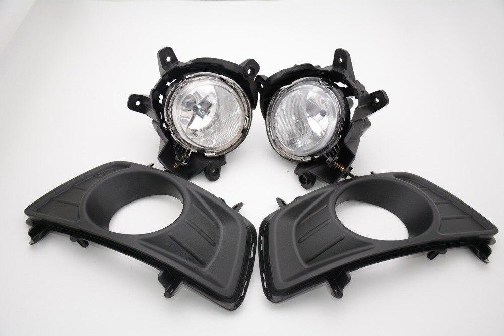1 Set clear lens driving fog lamps lights + covers trim bezels kits for KIA Carens 2007-2013