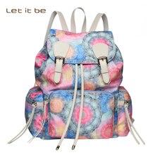 Пусть это будет печать водонепроницаемый нейлоновый рюкзак в консервативном стиле школы путешествия дизайнер ведро Mochila
