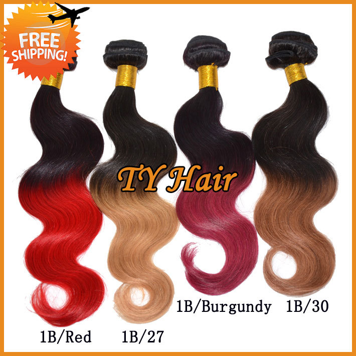Ombre Hair Extensions Dip Dye Two Tone Color 1b Red 5a Virgin
