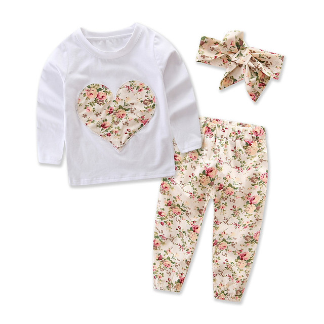 54b9bffc7bae Autumn Baby Girl Clothes Set Cotton Long Sleeved Floral Romper+Pants ...
